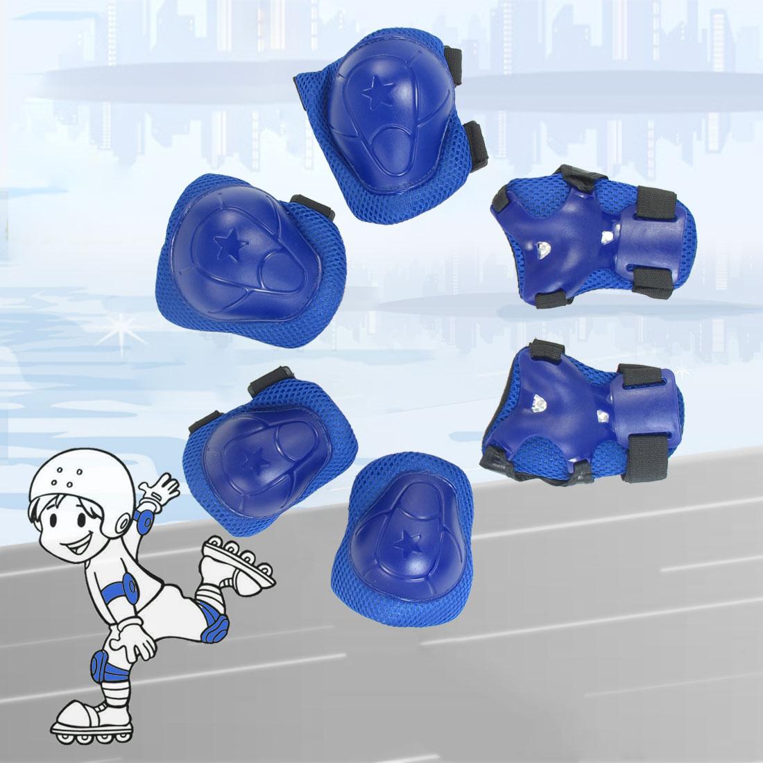Skating Plastic Flexible Band Wrist Elbow Knee Support Pad Blue Set