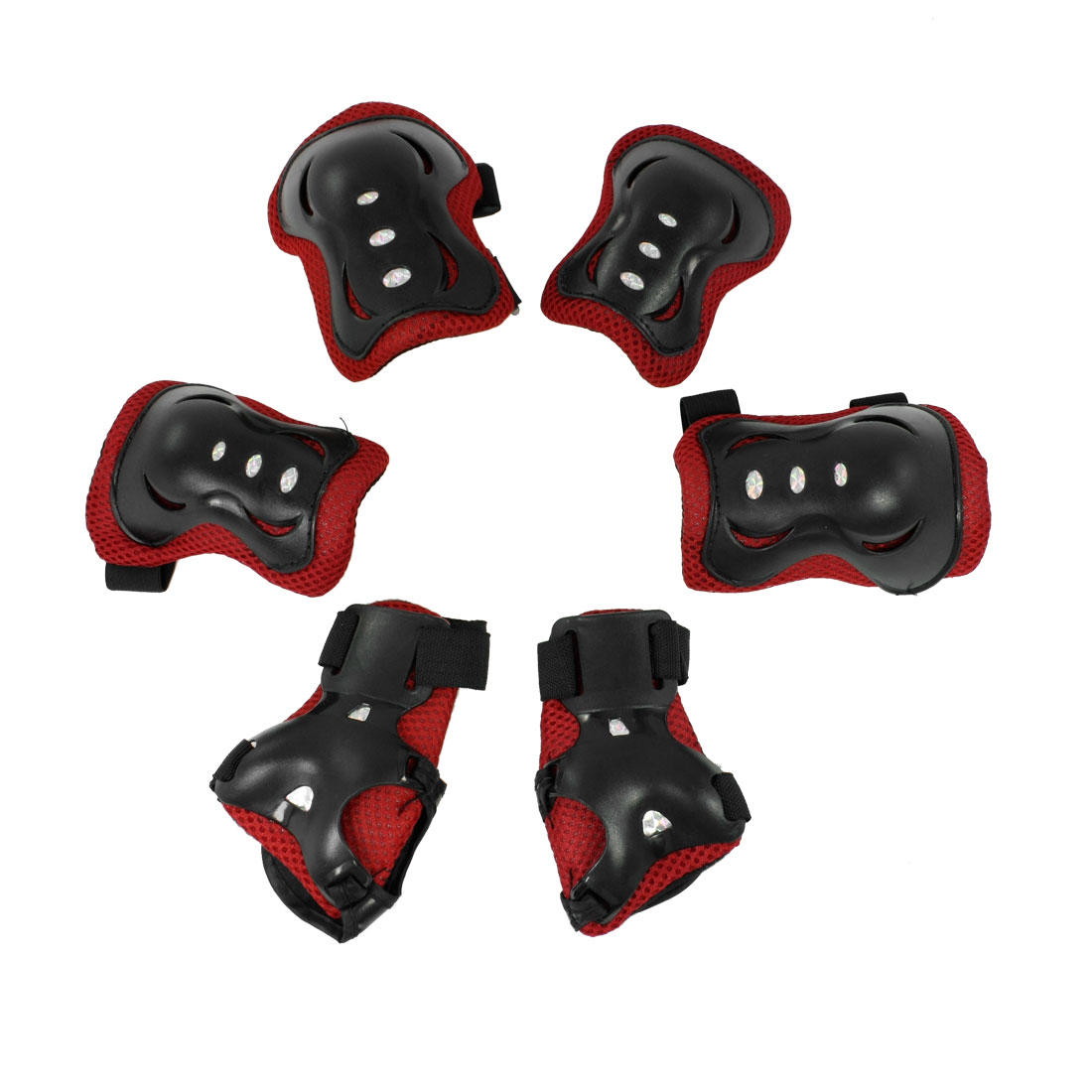 Kids Black Red Adjustable Elastic Starp Bands Fastener Palm Elbow Knee Protector 3 in 1 Set