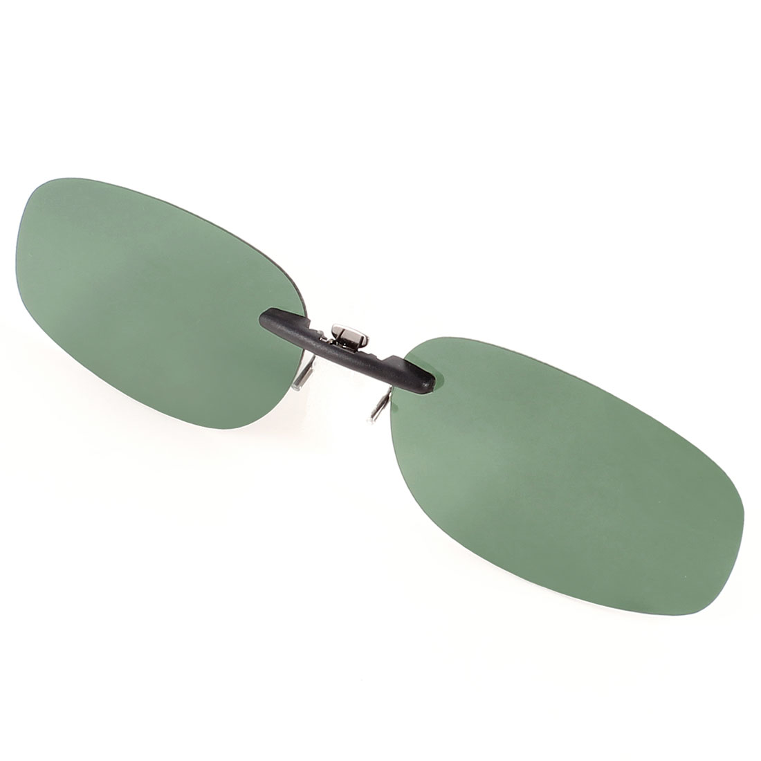Unisex Dark Green Polarized Oval Lens Clip on Eyeglass Spectacle