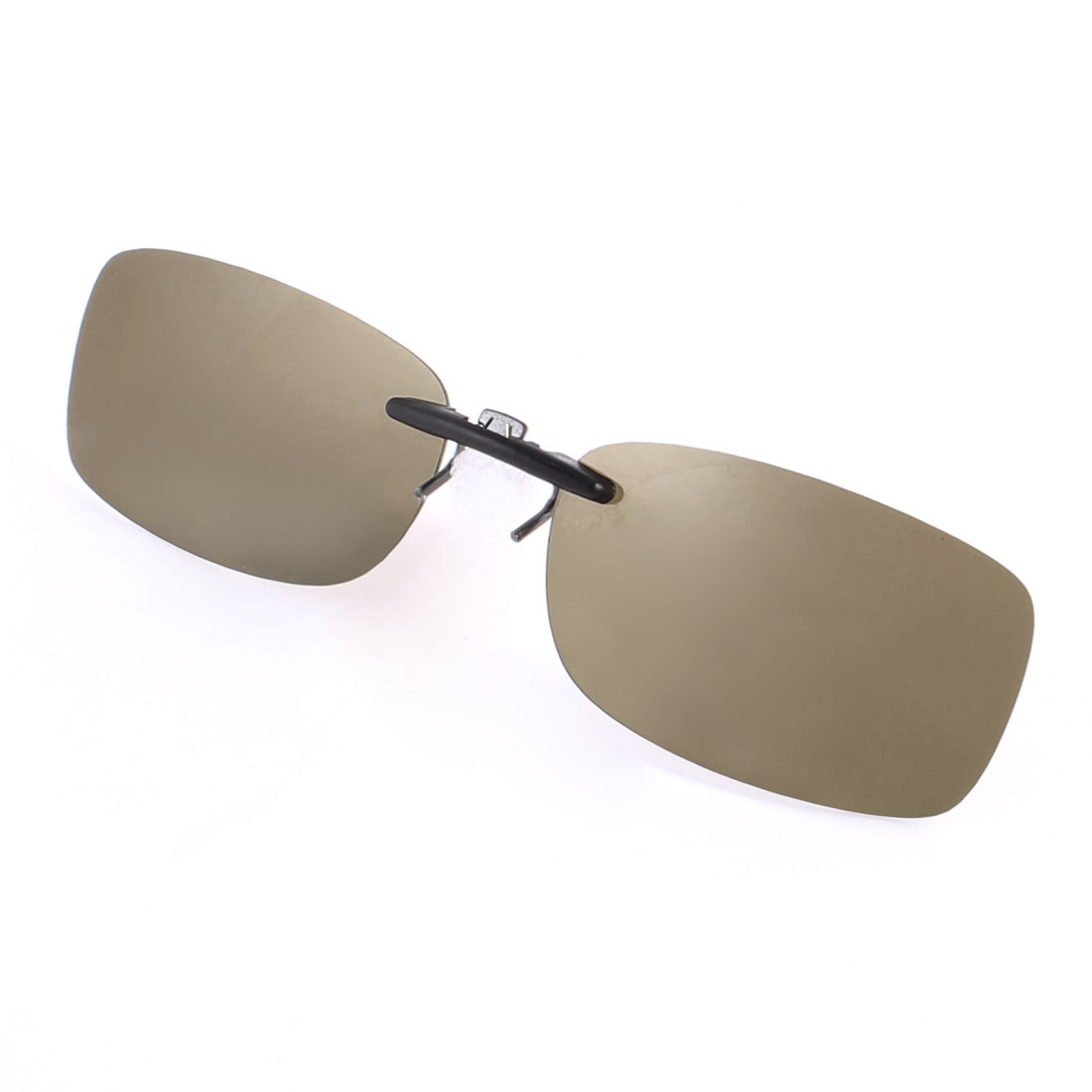 Unisex Outdoor Sports Rectangle Rimless Brown Lens Clip on Polarized Sunglasses