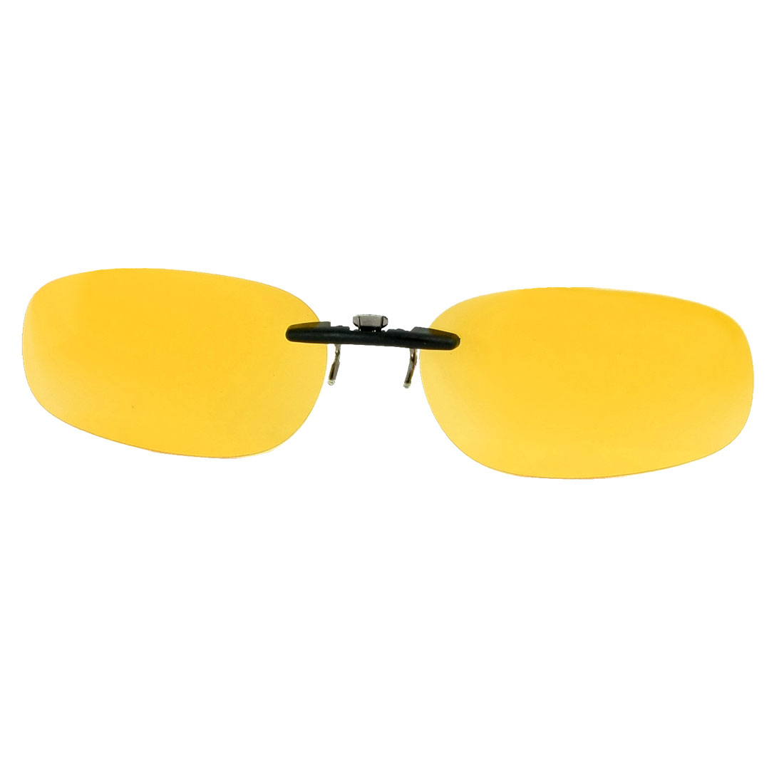 Clear Yellow Oval Shape Lens Rimless Clip on Polarized Sunglasses for Man Woman