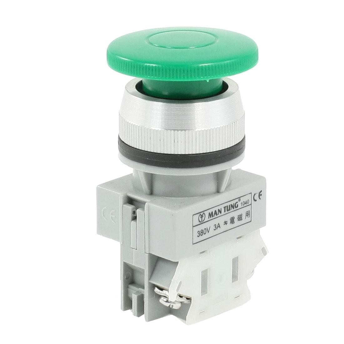 Green Mushroom Head 2-Terminals Momentary Push Botton Switch AC 380V 3A