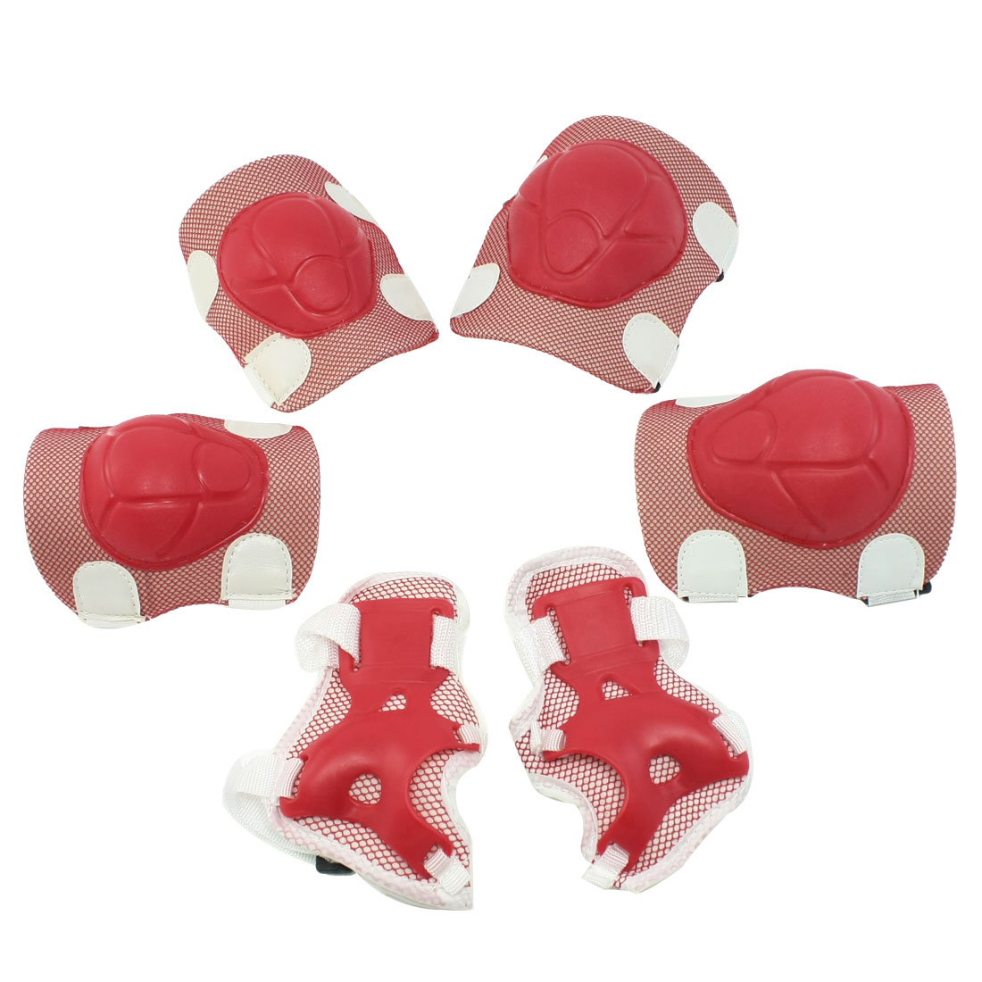 Set 6 in 1 Skiing Protective Palm Elbow Knee Support Pad White Red for