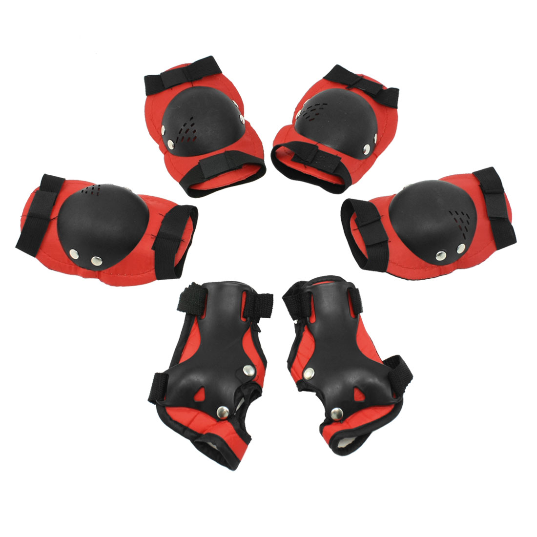 Kid Cycling Skiing Protective Knee Palm Elbow Support Guard Black Red Set 6 in 1