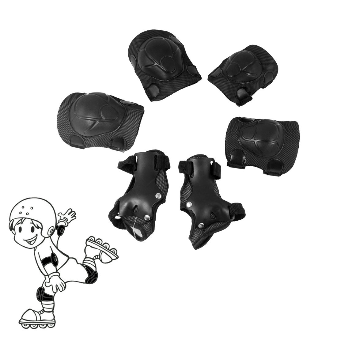 Kid Skateboard Protective Knee Palm Elbow Support Guard Black Gray Set 6 in 1