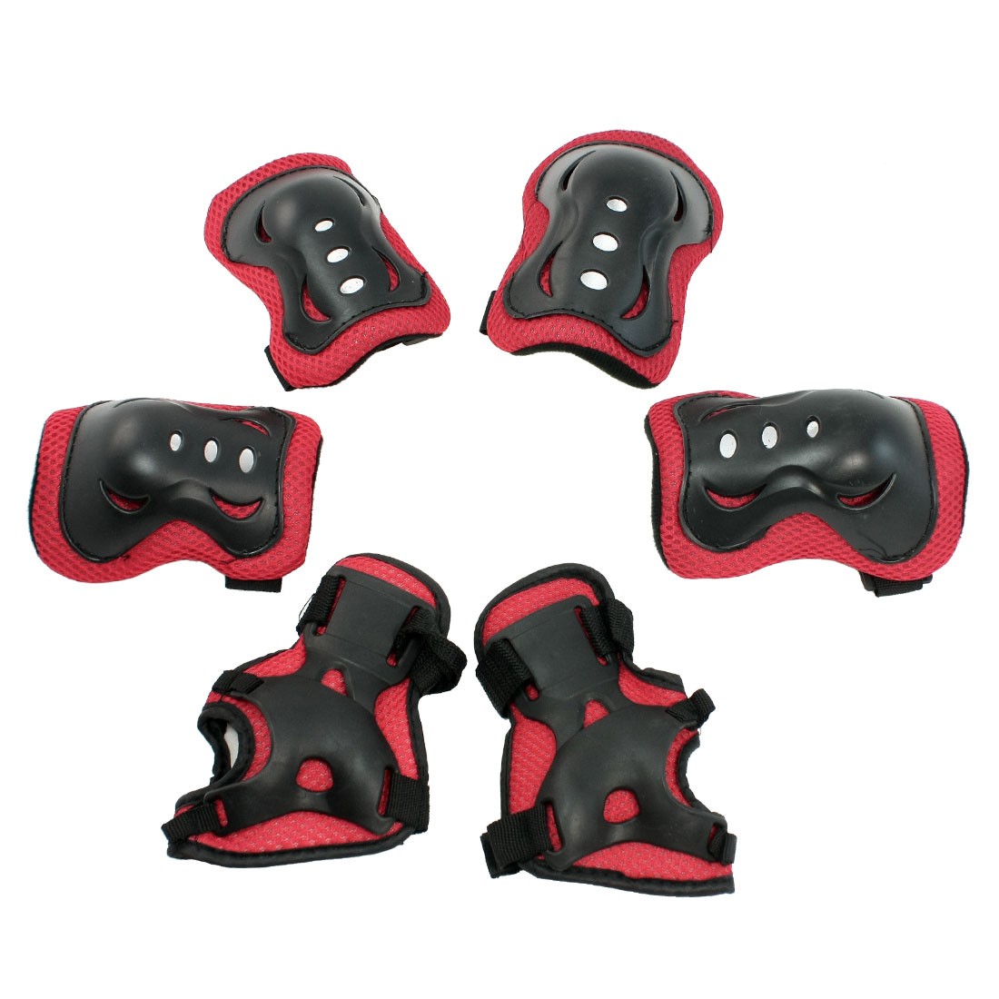 Set 6 in 1 Protective Palm Elbow Knee Support Pad Guard Red Black for Children
