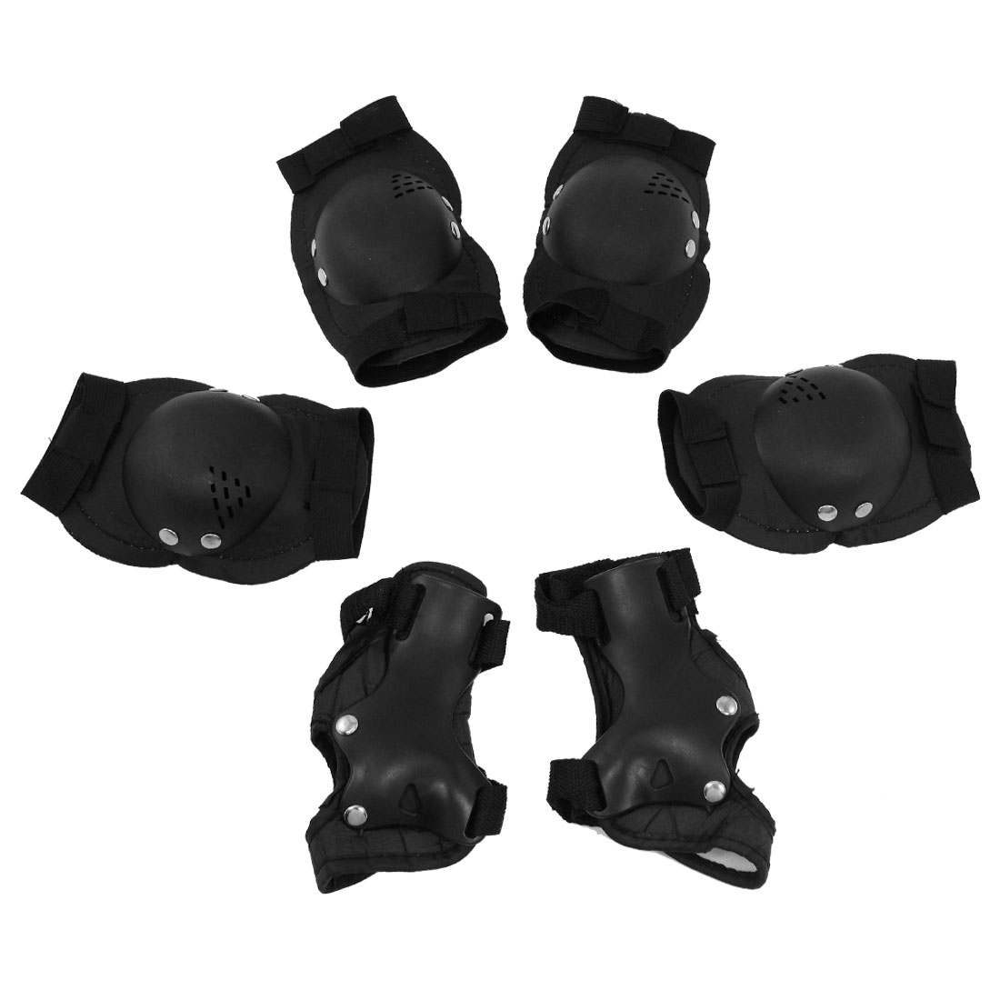 Set 6 in 1 Skiing Skating Protective Palm Elbow Knee Support Pad Black for Children