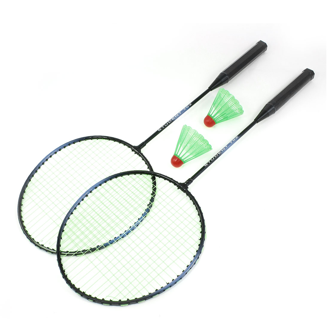 Pair Outdoor Sports Green Black Metal Frame Badminton Racket w 2 Pcs Shuttlecocks