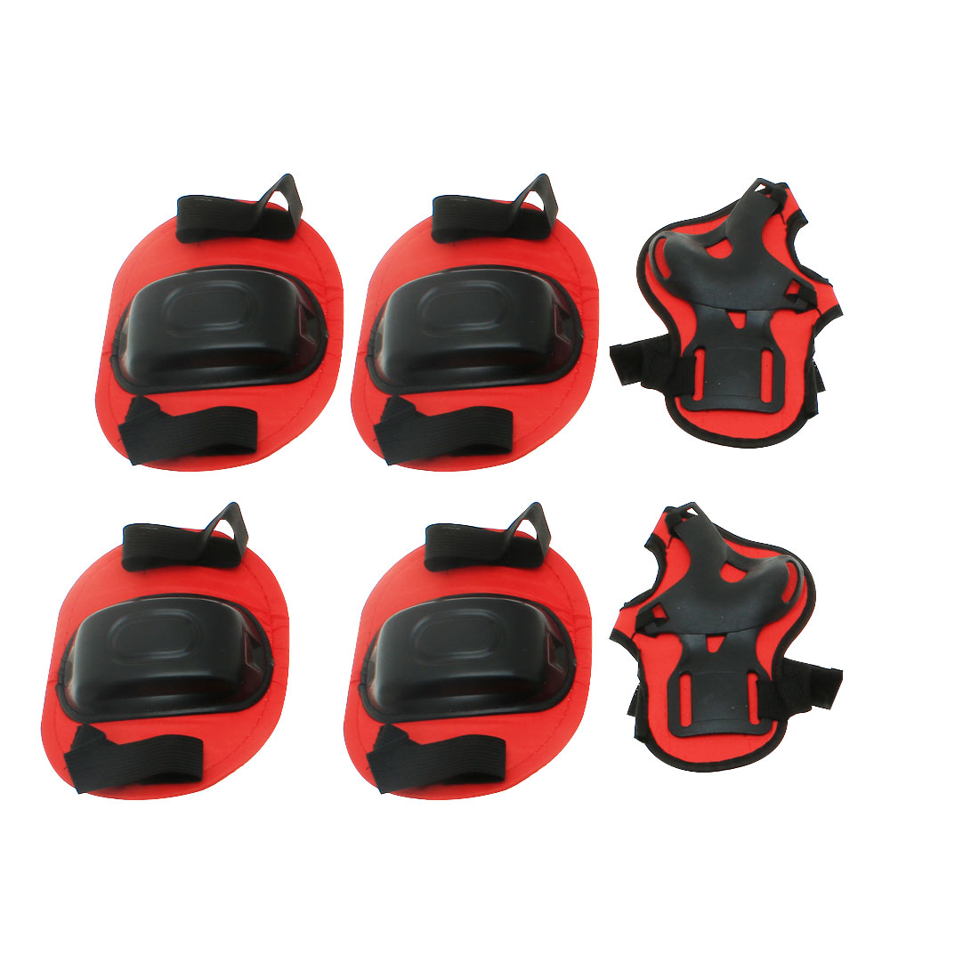 Set 6 in 1 Skateboard Sports Knee Palm Elbow Protector Support Red Black for