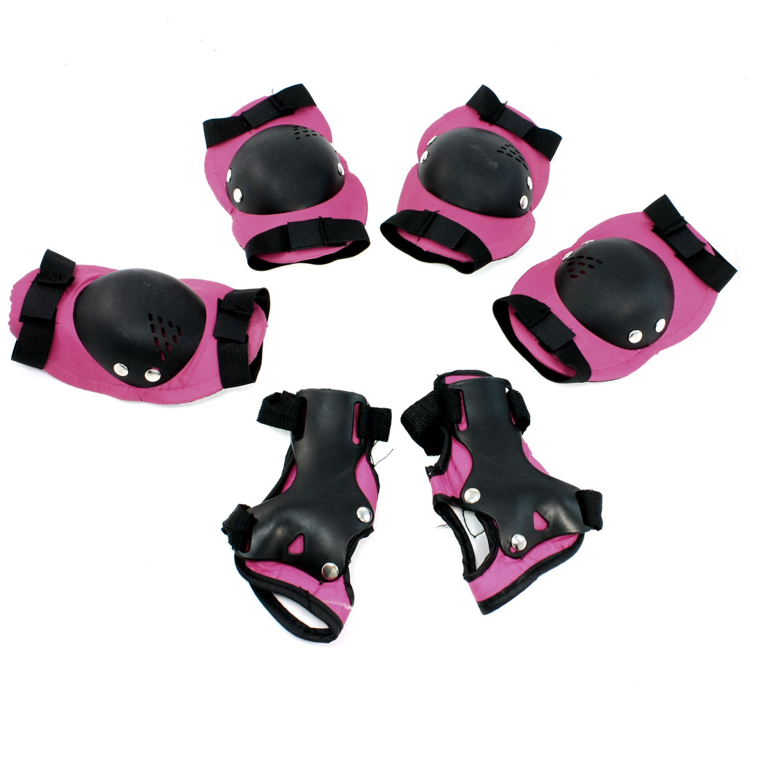 Children Skating Skiing Palm Elbow Knee Support Protector Pad Fuchsia Black Set 6 in 1