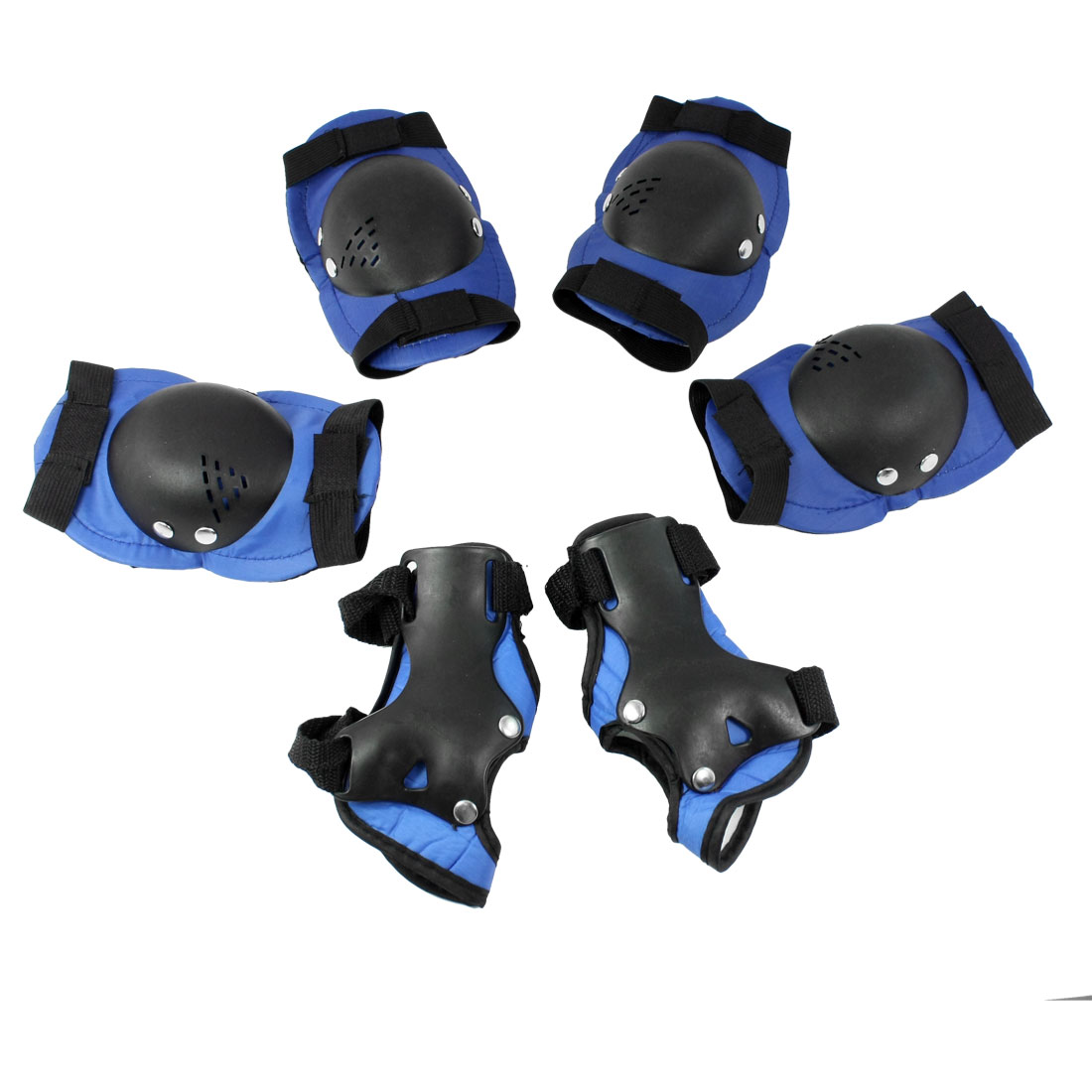 Set 6 in 1 Hoop Loop Closure Protective Elbow Knee Palm Support Black Blue for Kid