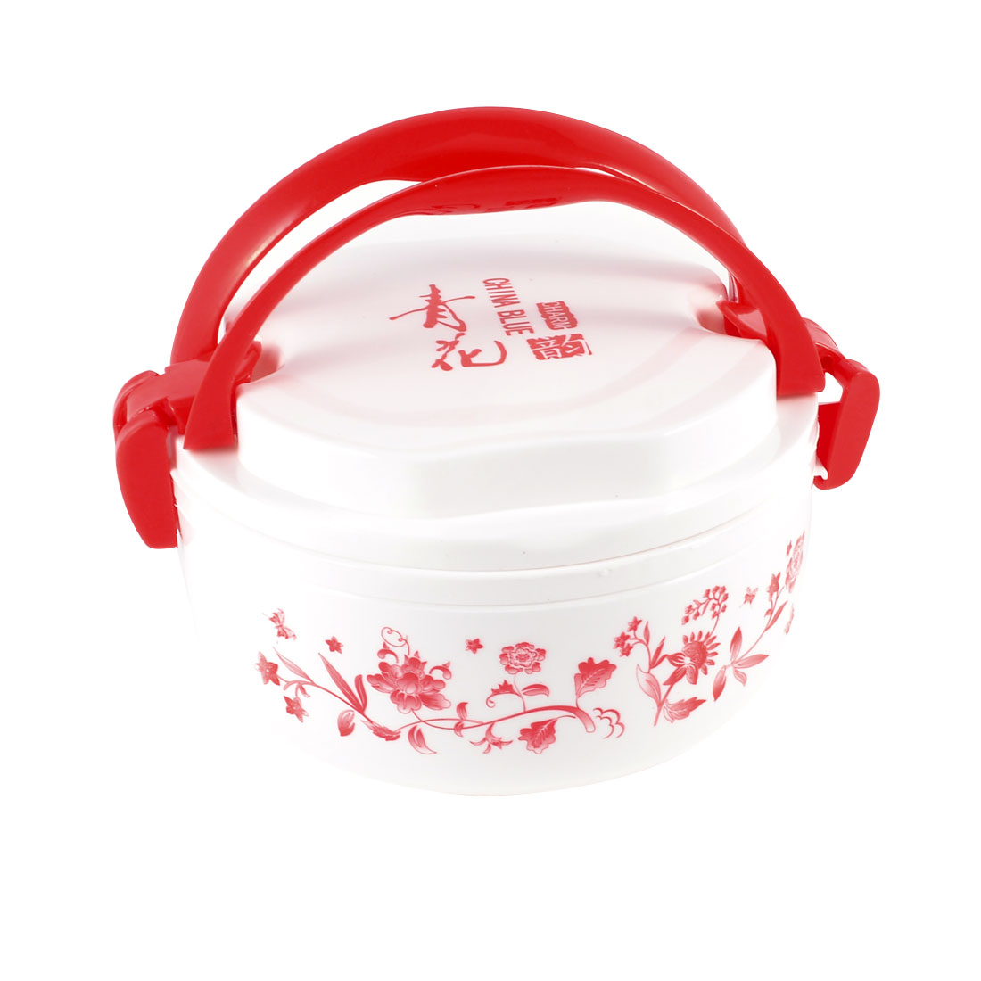 Red White Handheld Flowers Pattern 2 Layer Plastic Food Dish Container Lunch Box w Spoon
