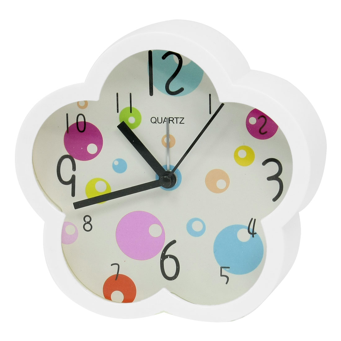 Colorful Circles Print White Plastic Flower Shaped Desk Alarm Clock