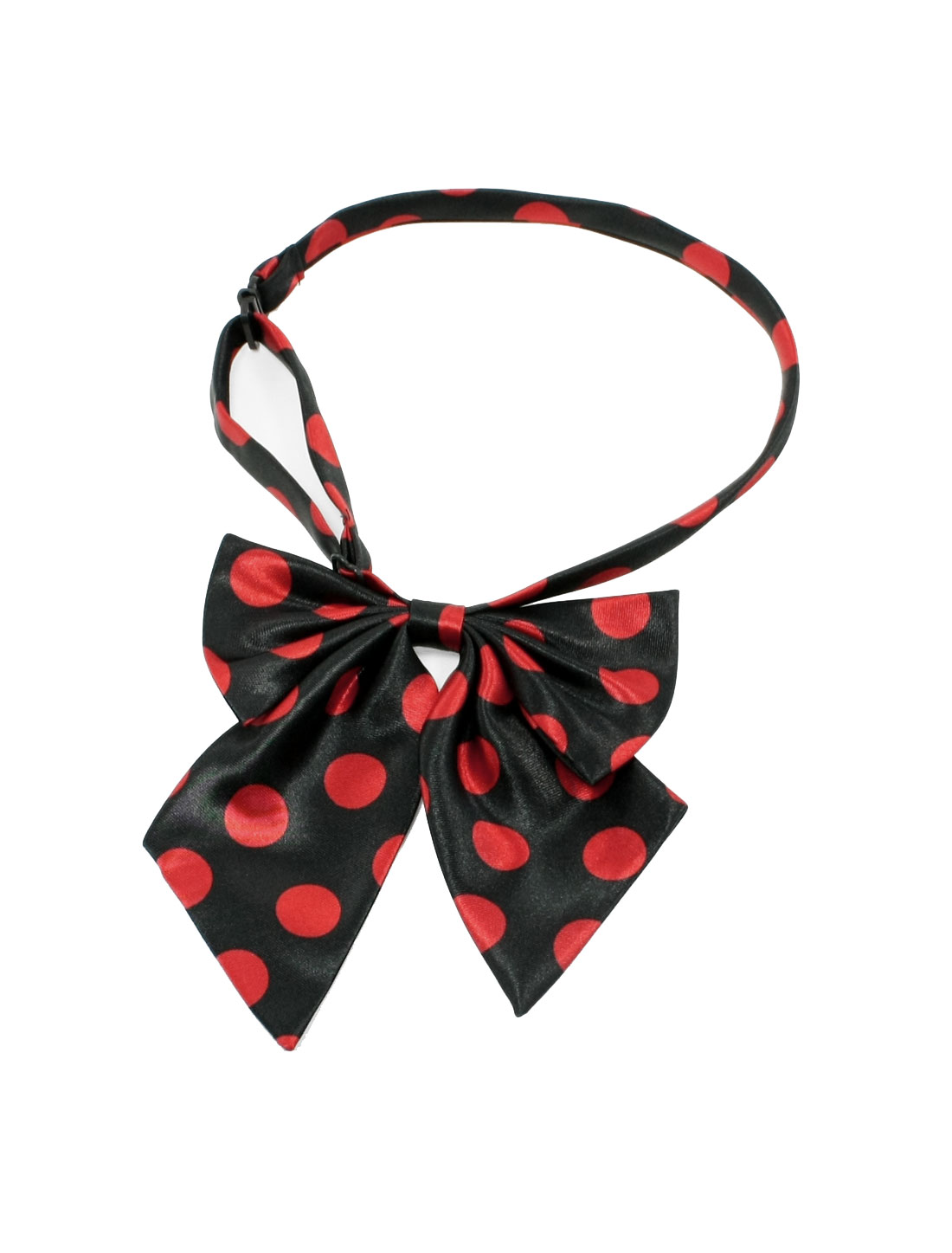 Red Black Polka Dots Pattern Bowknot Halter Neck Bow Tie for Lady