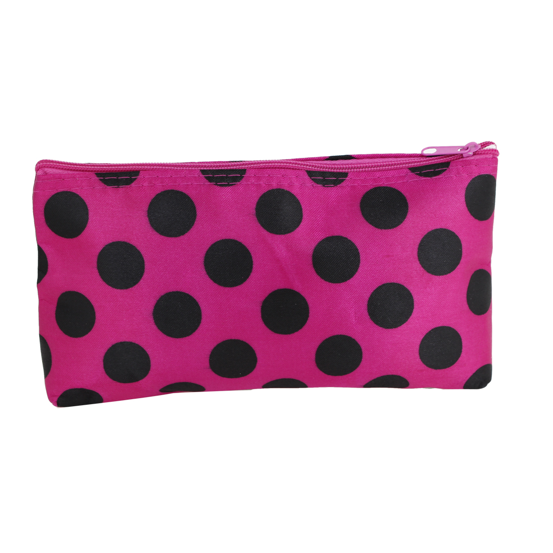 Women Fuchsia Rectangle Shape Black Dots Pattern Zip Up Cosmetic Holder Pouch Bag