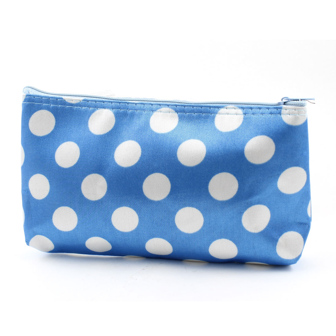 Lady White Dotted Zipper Closure Blue Cosmetics Holder Bag