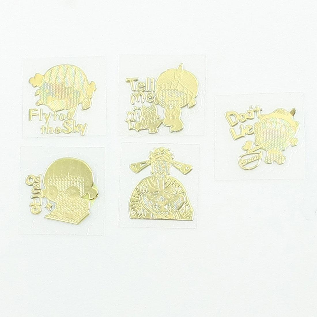 5 Pieces Cartoon Girls Chinese Mammon Pattern Phone Stickers