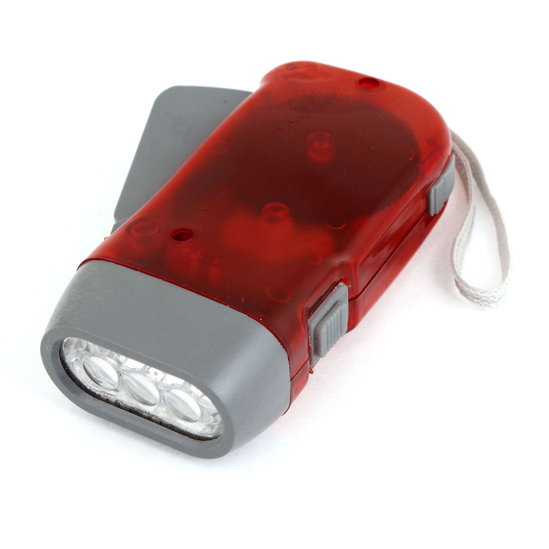Hand-pressing Plastic 3 LED Flashlight Torch with Hand Strap Red Gray