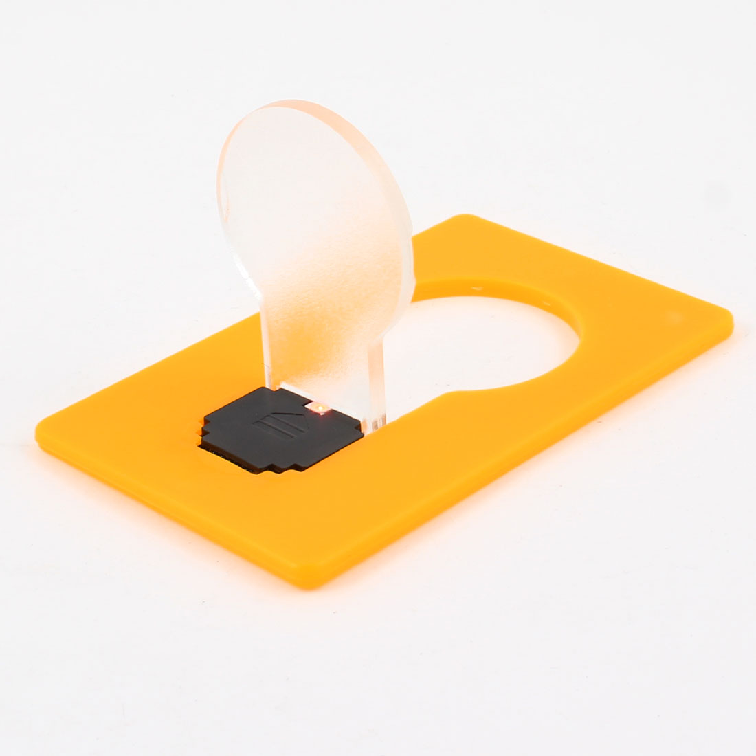 Battery Powered Plastic Orange Clear Credit Card LED Night Light Lamp