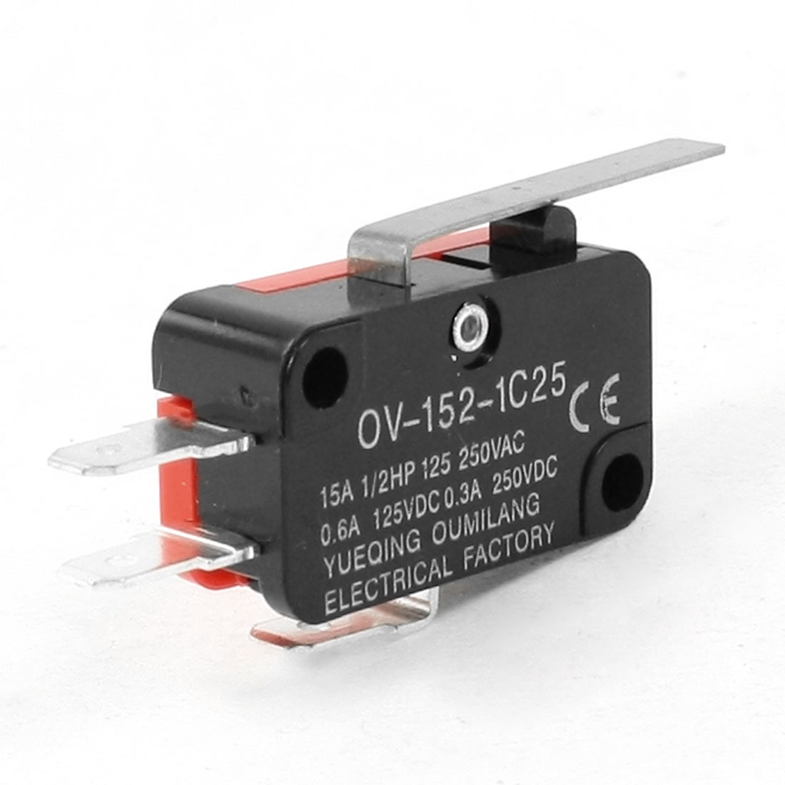 AC 250V 15A Red Black Push Button Limit Micro Switch OV-152-1C25