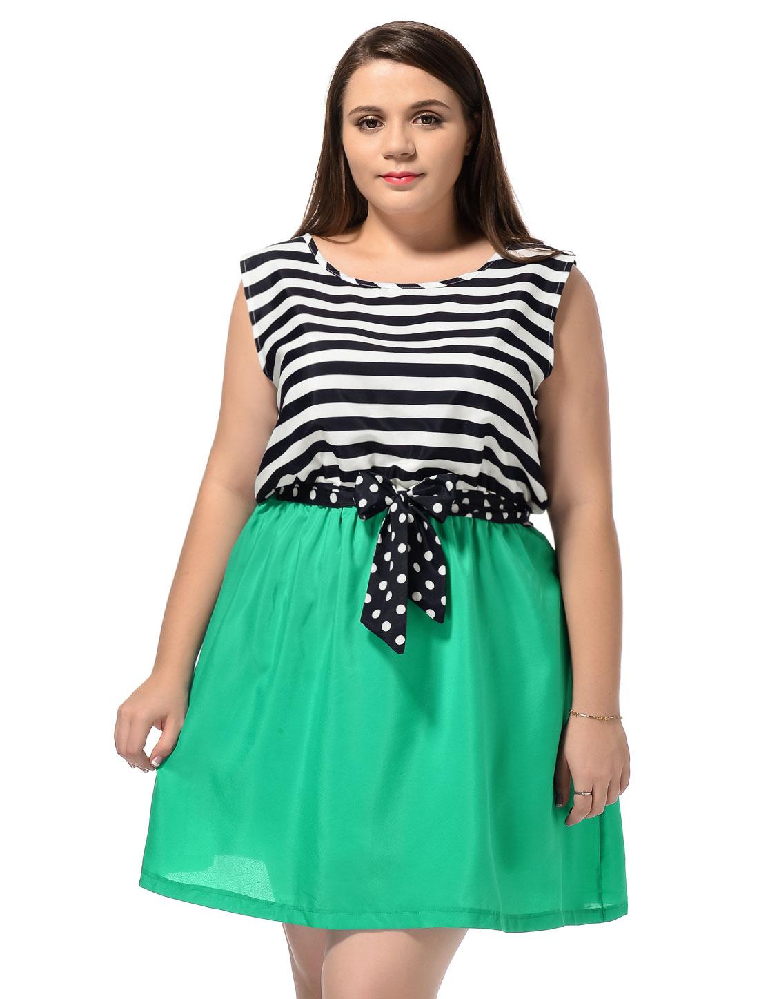 Ladies Plus Size Teal Sleeveless Horizontal Stripes Casual Mini Dress 3X