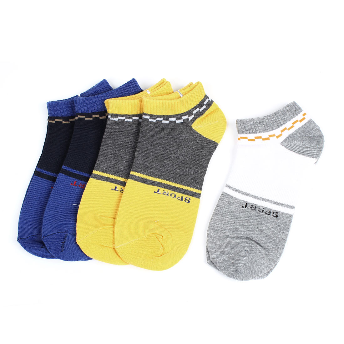 5Pairs Navy Blue Gray White Elastic Cuff Letter Pattern Sports Ankle Socks for Men
