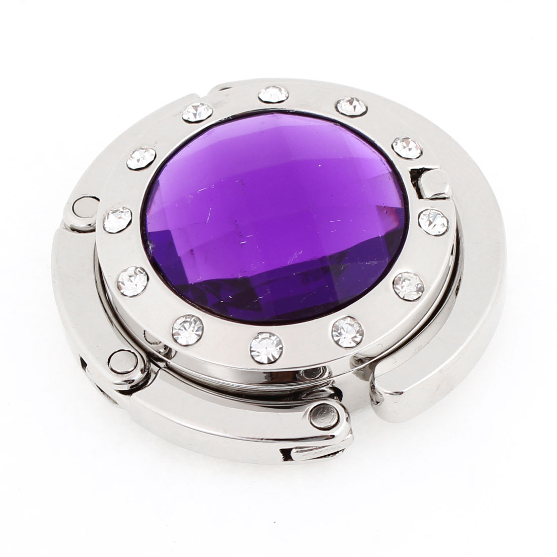 Ladies Purple Plastic Crystal Detailing Rubber Base Handbag Hook Holder w Mirror