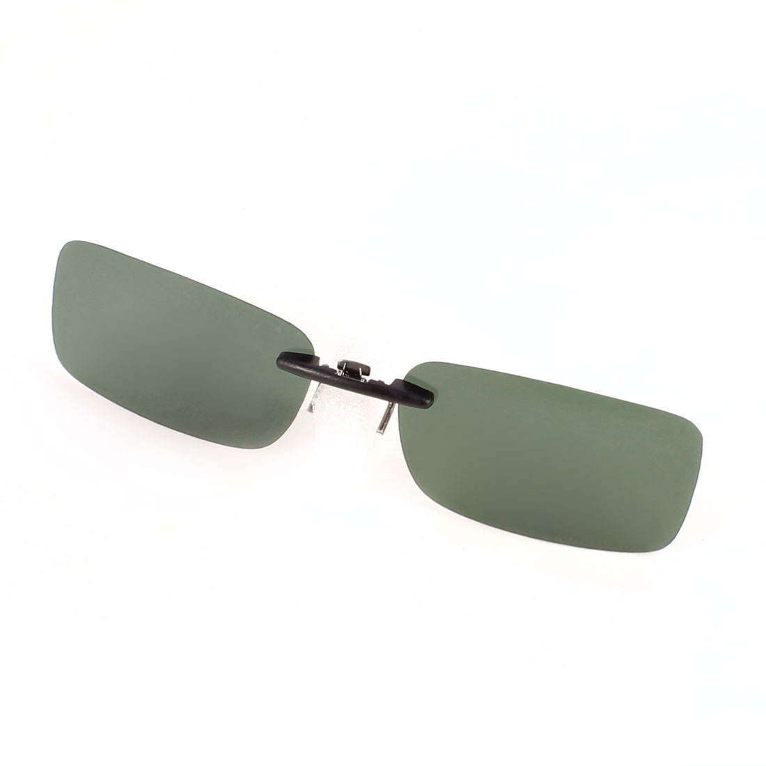 Eye Protector Rimless Dark Green Lens Leisure Clip on Polarized Sunshine Glasses