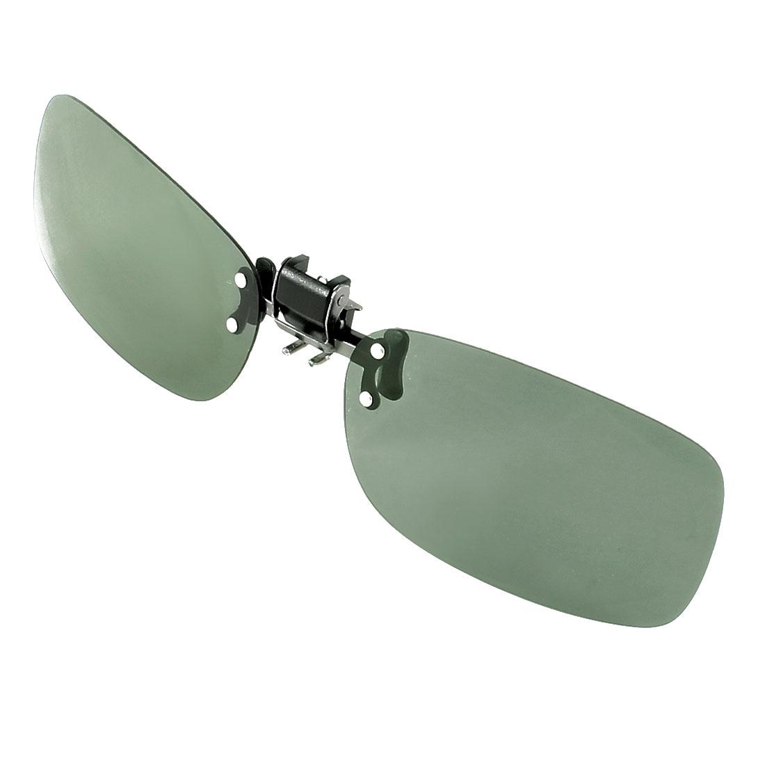 Polarized Dark Green Lens Rimless Flip Up Clip on Eyeglasses Sunglasses