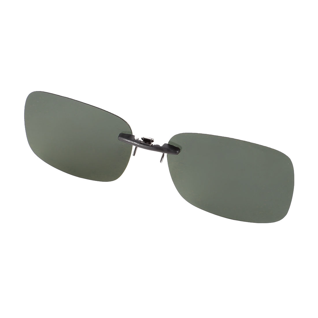 Unisex Rectangle Non Frame Dark Green Polarized Lens Clip on Sunglasses