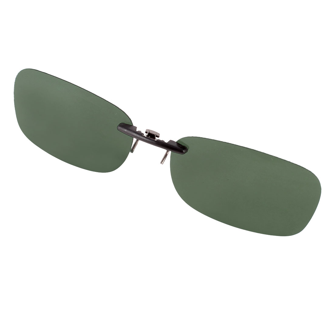 Sunshade Rectangle Rimless Dark Green Lens Clip on Polarized Sunglasses