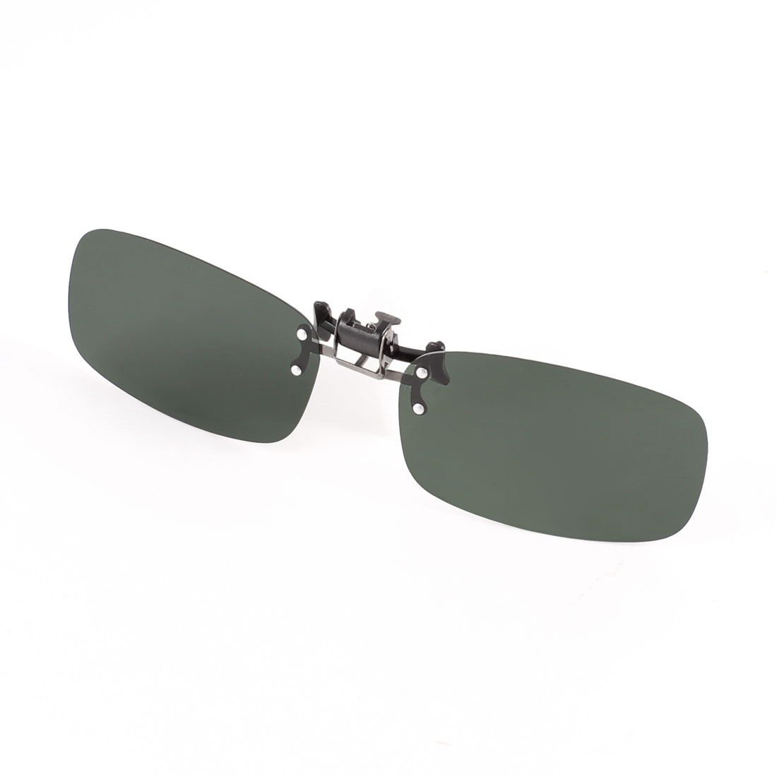 Men Women Polarized Eyeglass Flip Up Clip on Sunglasses Glasses Dark Green Lens