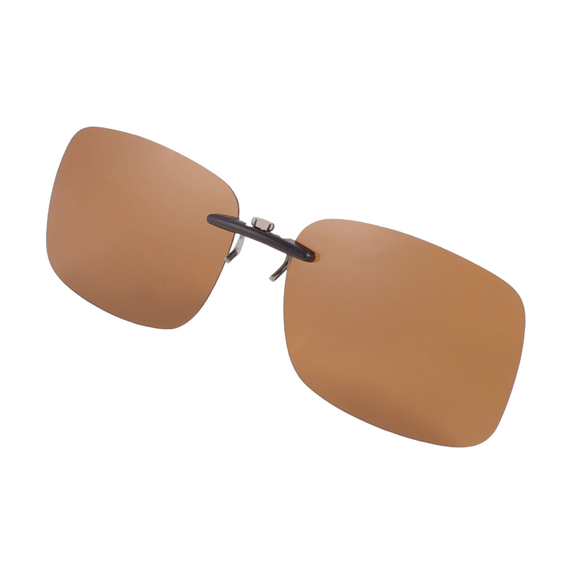 Driving Fishing Rimless Brown Polarized Lens Clip on Sunglasses