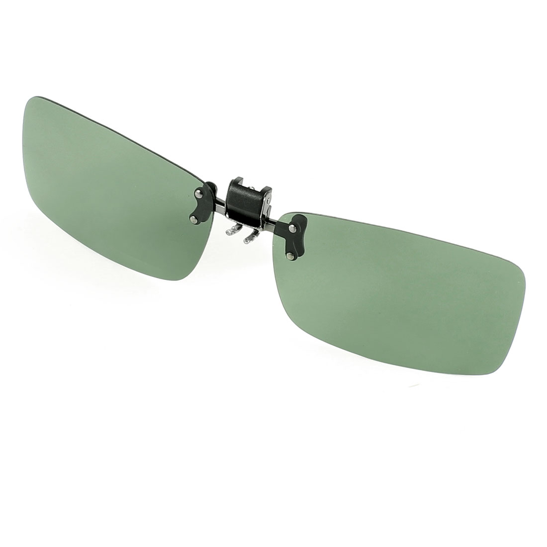 Polarized Rectangle Dark Green Lens Flip Up Clip on Sunglasses Spectacle