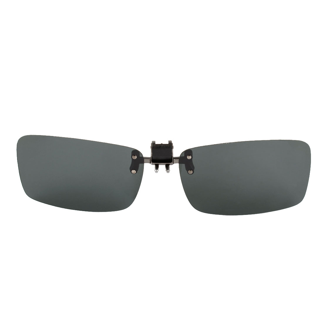 Gray RectangleUnisex Rectangle Lens Flip Up Sports Clip On Polarized Sunglasses Gray 2.3 Inch Long