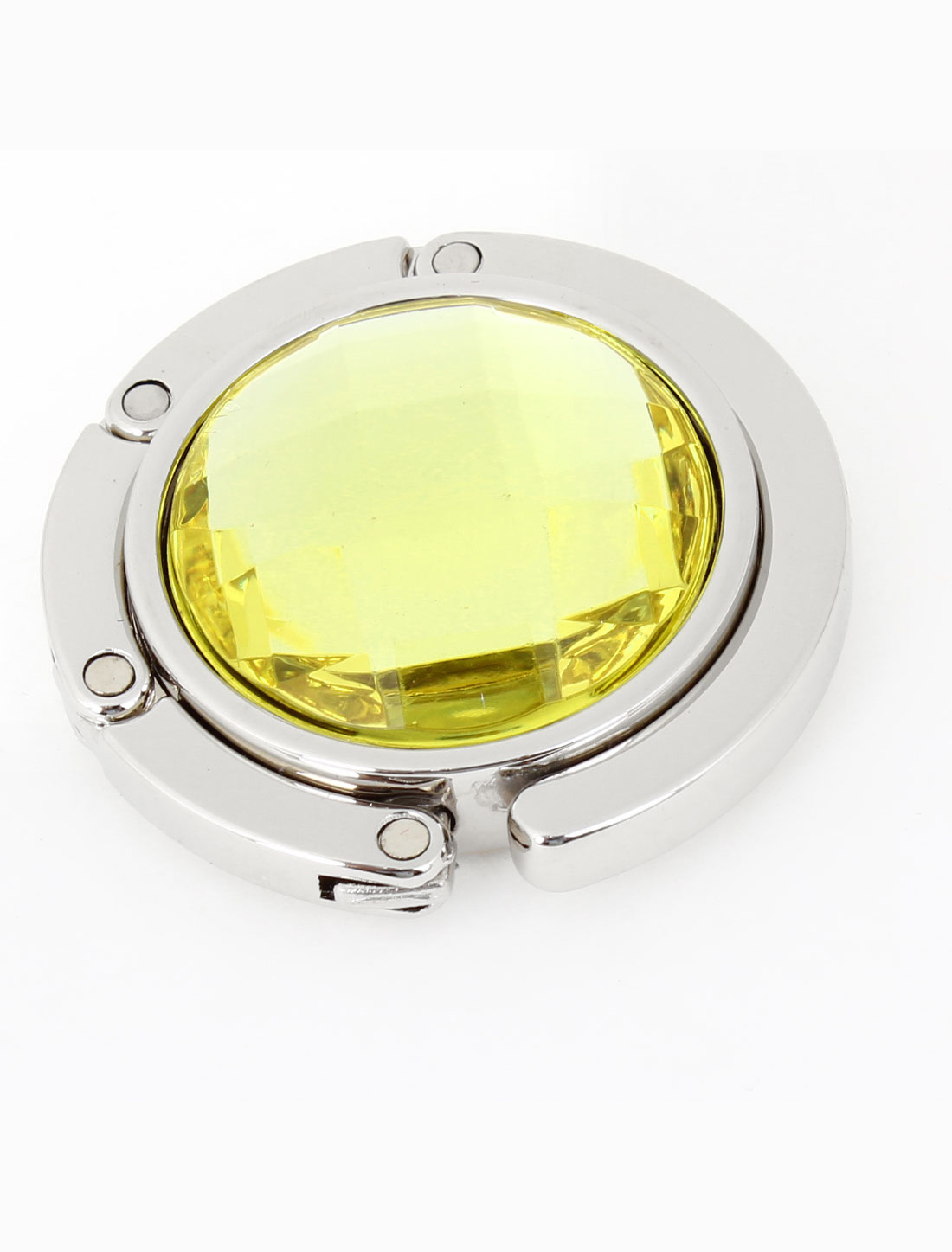 Ladies Yellow Plastic Crystal Detailing Rubber Base Handbag Hook Holder