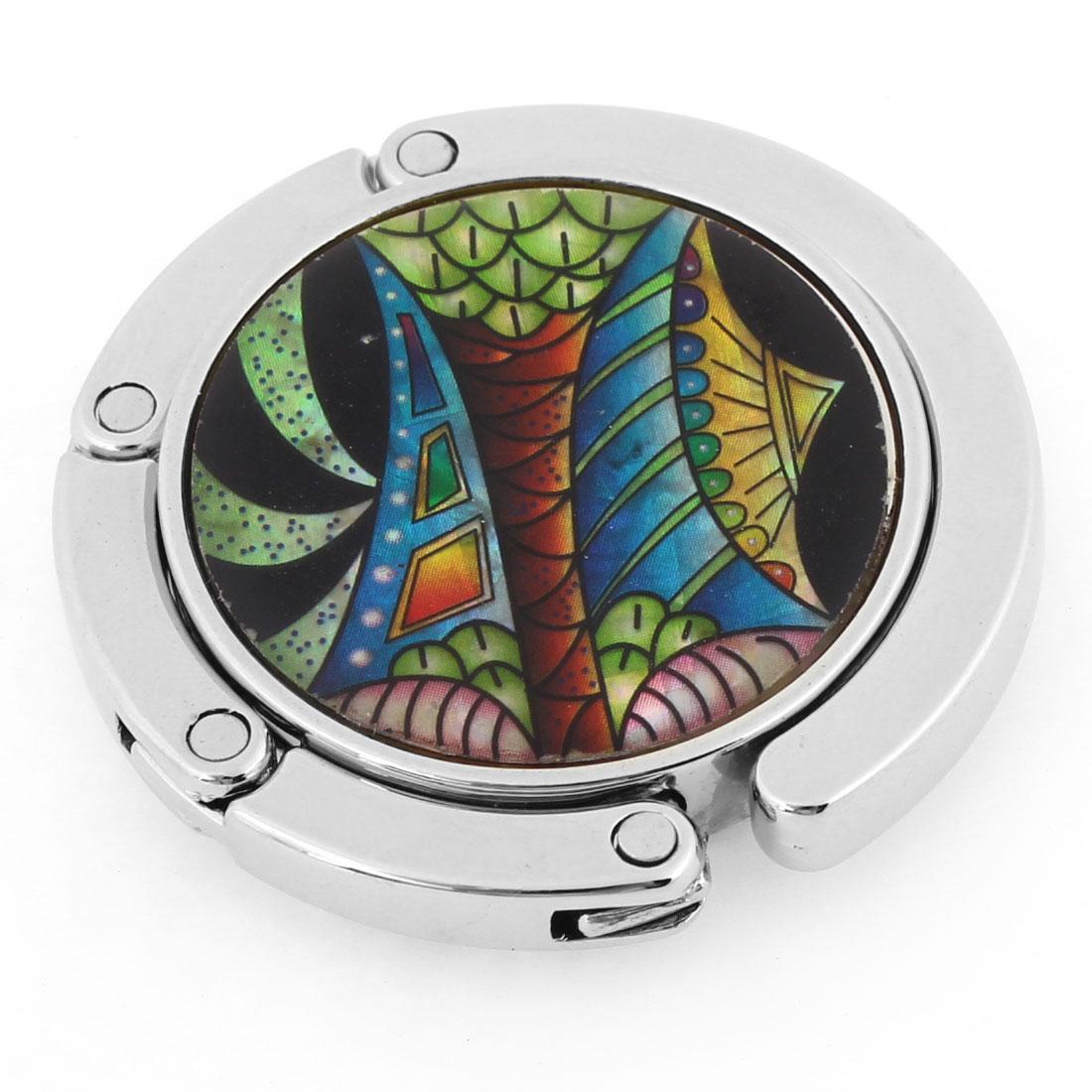 Round Shaped Design Multicolor Pattern Silver Tone Hook Handbag Hanger for Lady