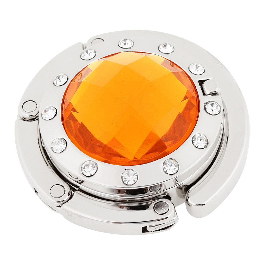 Ladies Orange Rhinestone Detailing Silver Tone Hook Handbag Hanger w Mirror