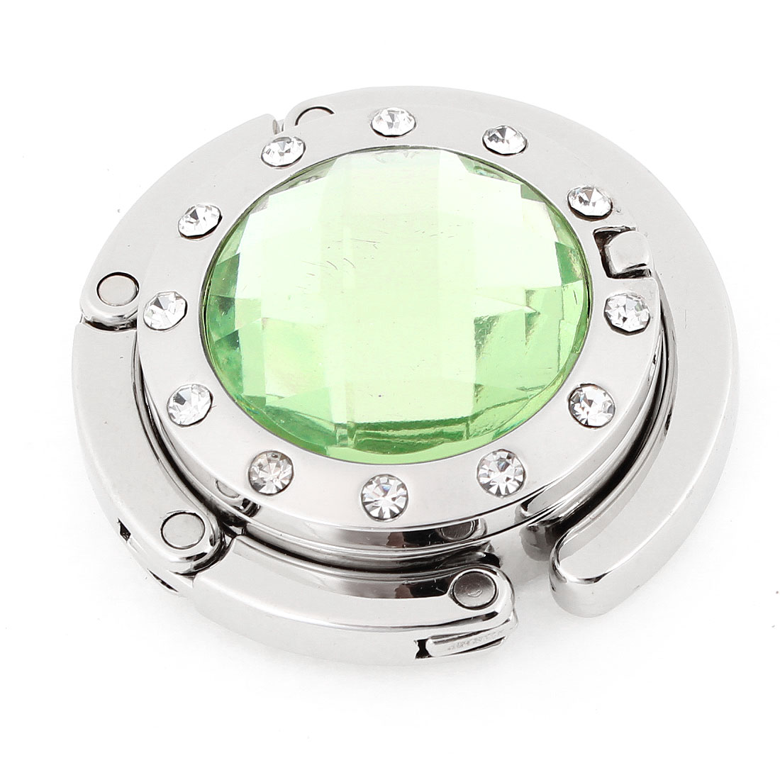 Lady Light Green Plastic Crystal Decor Rubber Base Handbag Hook Holder w Mirror