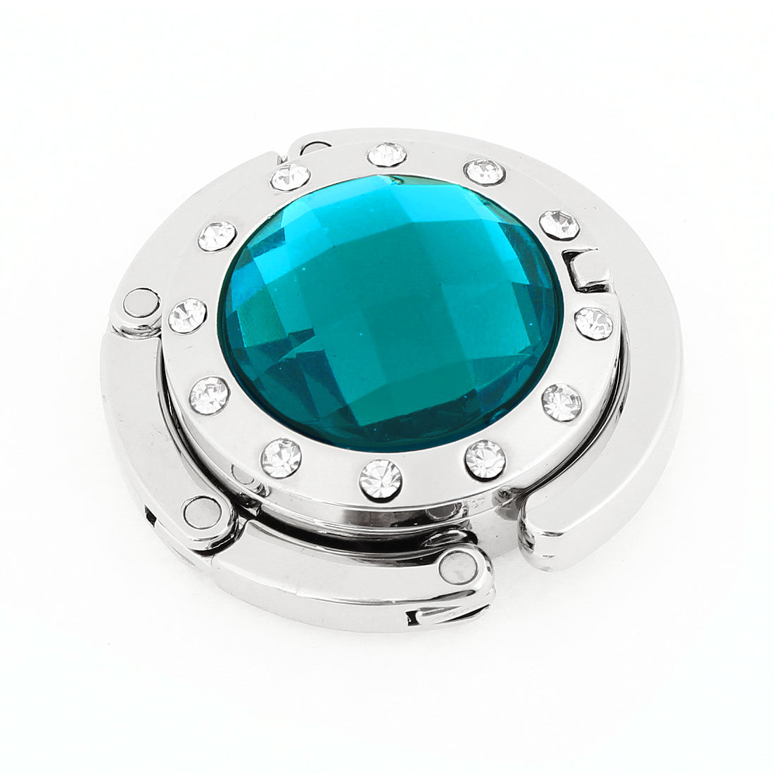 Ladies Teal Blue Rhinestone Detailing Silver Tone Hook Handbag Hanger w Mirror