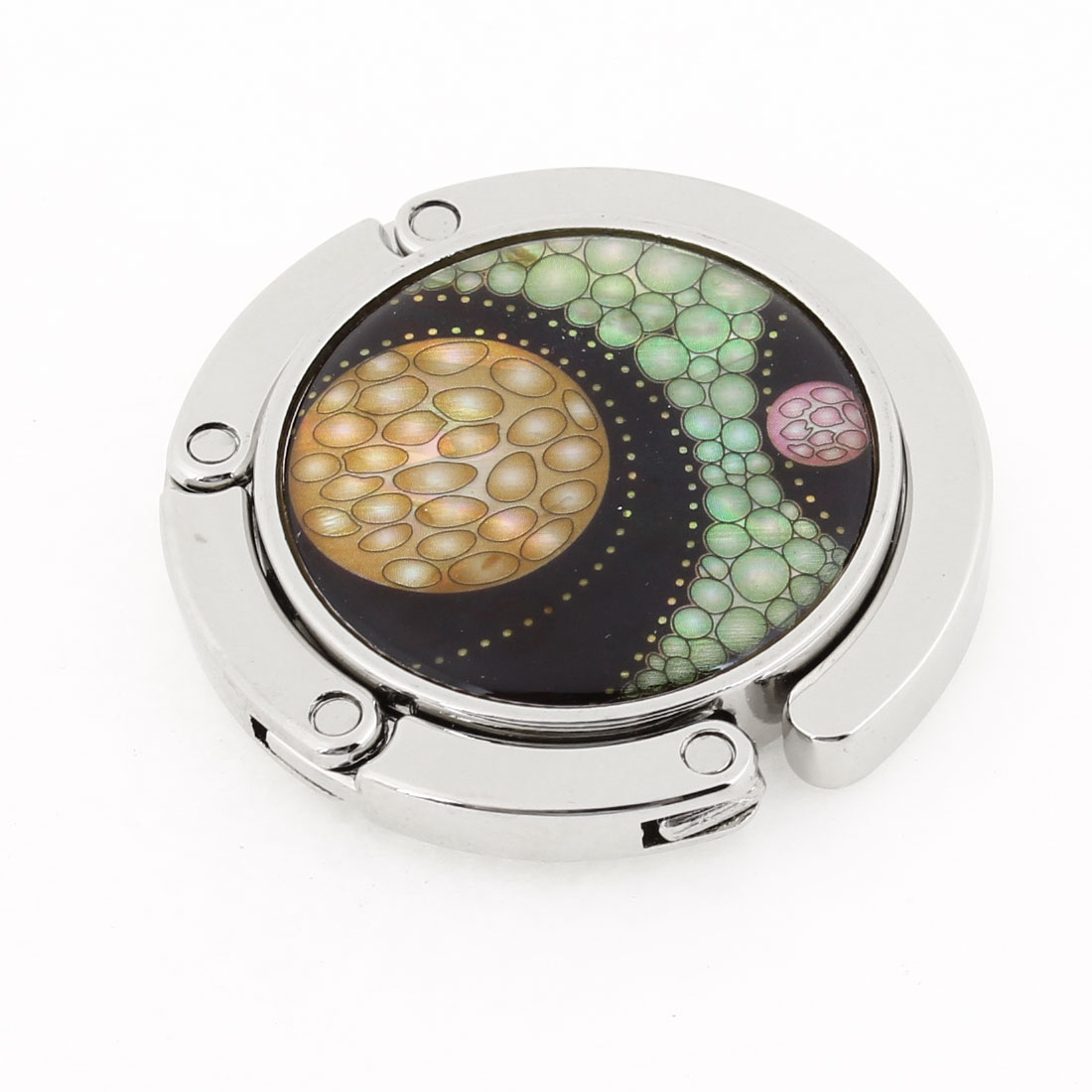 Round Shaped Multicolor Pebbles Print Silver Tone Hook Handbag Hanger for Lady
