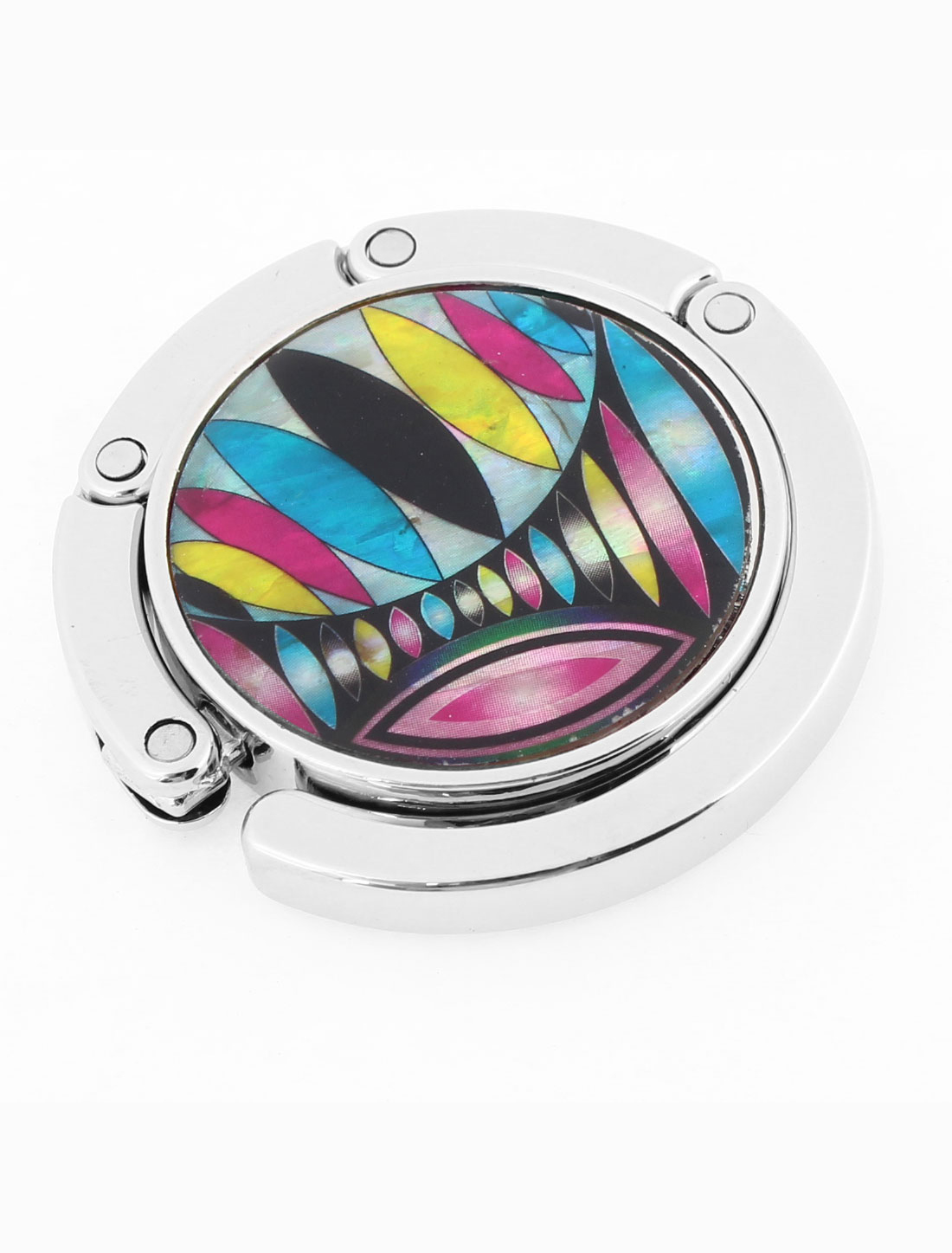 Lady Multicolor Ellipse Pattern Rubber Base Metal Handbag Hook Hanger