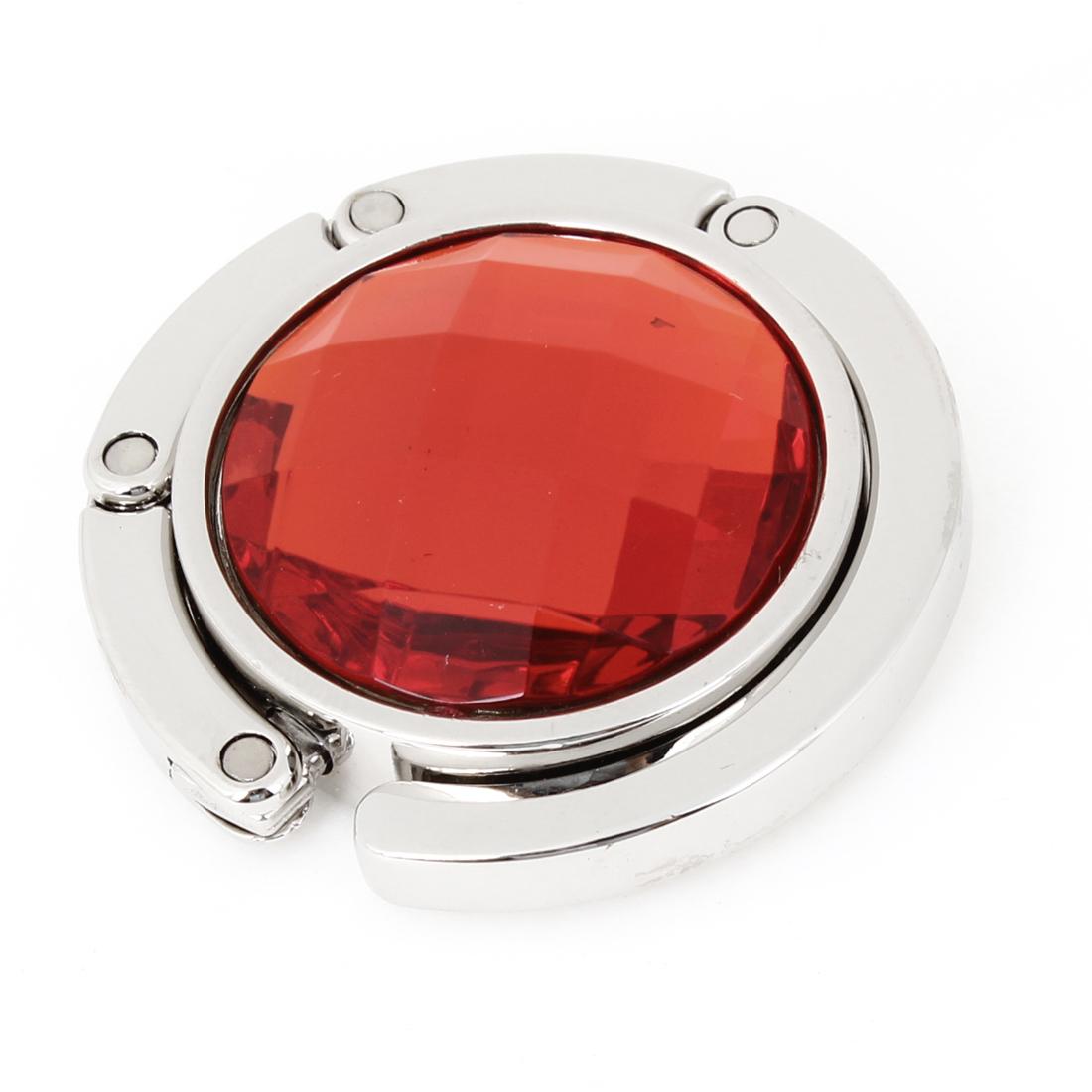 Lady Orange Red Plastic Crystal Decor Rubber Base Metal Handbag Hook Hanger