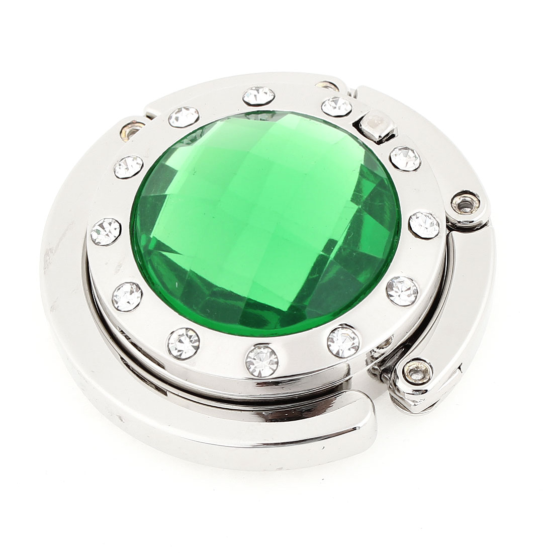 Ladies Green Rhinestone Detailing Silver Tone Hook Handbag Hanger w Mirror