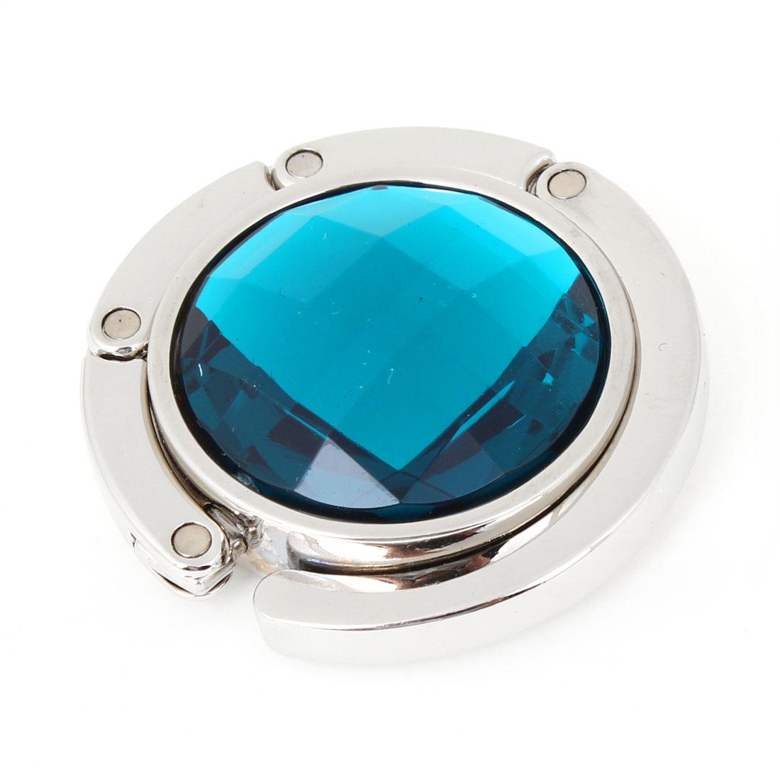 Ladies Teal Blue Plastic Crystal Detailing Rubber Base Handbag Hook Holder