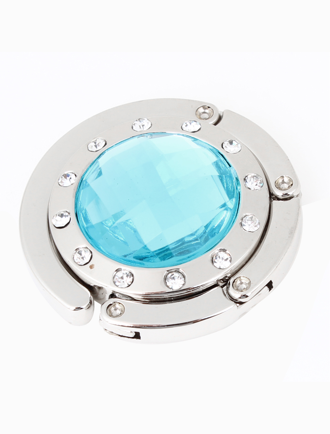 Light Blue Rhinestone Inlaid Rubber Base Designed Metal Handbag Hook Hanger
