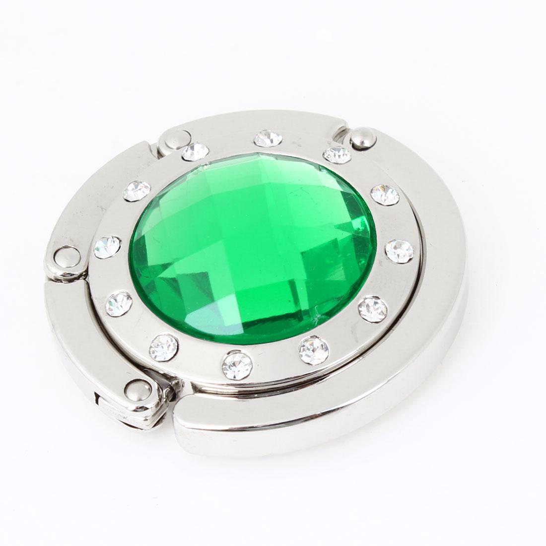 Lady Green Faux Crystal Detailing Silver Tone Hook Handbag Hanger