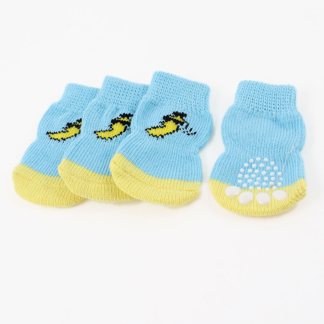 2 Pair Paw Bottom Banana Print Knitted Winter Socks for Doggie
