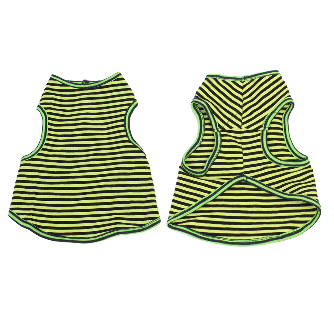 Stripes Pattern Dog Chihuaha Summer Tee Shirt Pet Puppy Clothes Green Black S