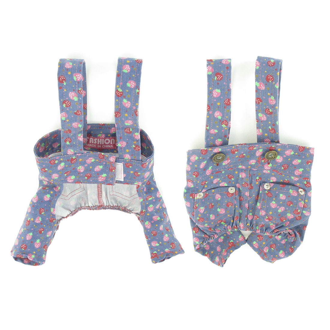 Pet Dog Two Patch Pockets Hoop Loop Closure Suspender Pants Clothes Size S